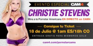 La pornstar Christie Stevens en CAM4! Noche del 18 de Julio