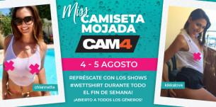 Pezones duros y mojados en el fin de semana de Camiseta Mojada en CAM4